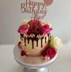 Drip and Rose Buttercream Cake