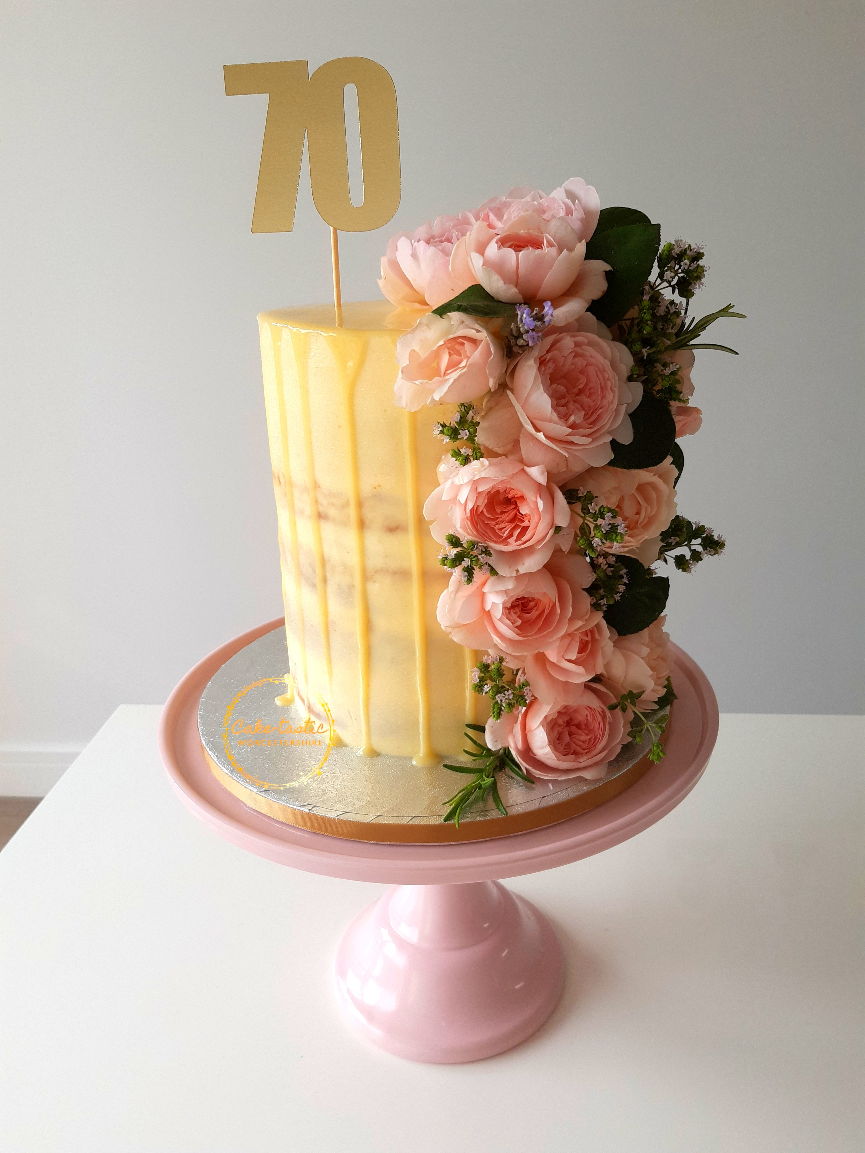 Tall Drip Cake With Fresh Flowers
